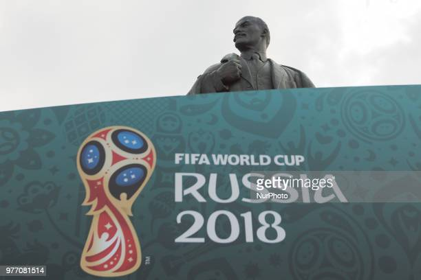 Statue od Lenin is seen during the Russia 2018 World Cup Group F football match between Germany and Mexico at the Luzhniki Stadium in Moscow on June...