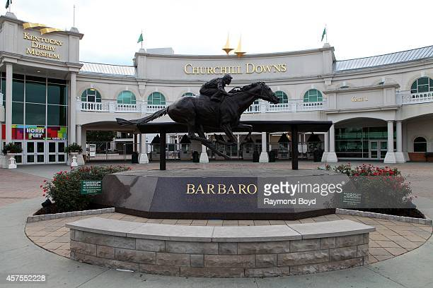 Statue of 2006 Kentucky Derby winner Barbaro sits outside of Churchill Downs home of the Kentucky Derby on October 05 2014 in Louisville Kentucky