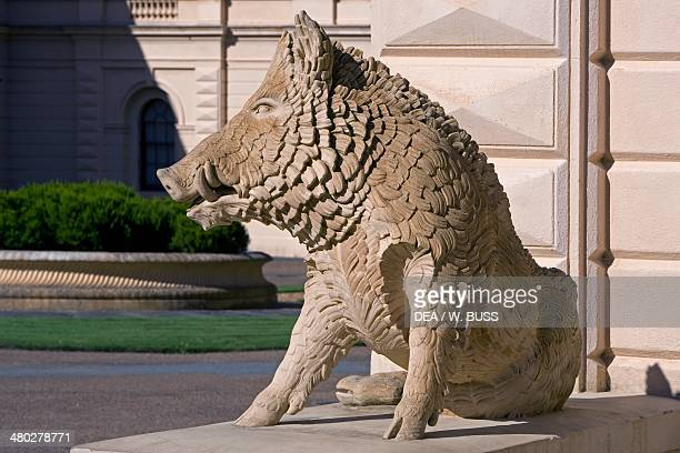 Statue of a boar in front of one of the main entrances to Osborne House built between 18451851 in Italian Renaissance style as Queen Victoria's...