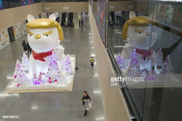 A statue of a dog with a resemblance to US President Donald Trump is seen in a shopping mall in Taiyuan in China's northern Shanxi province on...
