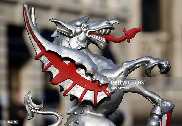 A statue of a dragon holding the Coat of Arms marks the boundary of the City of London on January 26 2010 in London United Kingdom Figures released...