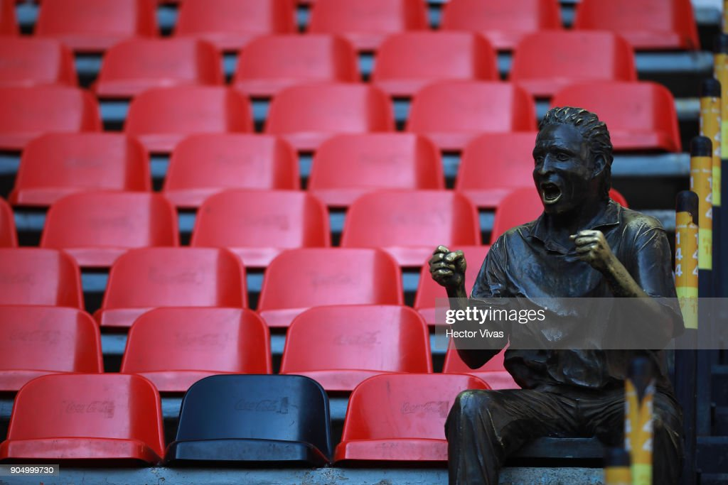 A statue of a fan in the stands during the second round match between America and Pachuca as part of the Torneo Clausura 2018 Liga MX at Azteca Stadium on January 13, 2018 in Mexico City, Mexico.