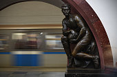 moscow russia statue footballer decorates ploschad