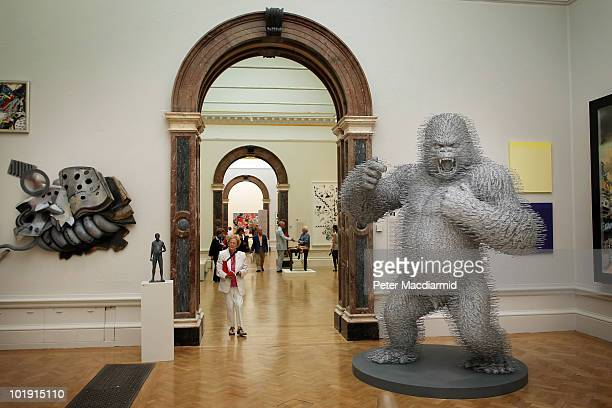 Statue of a gorilla made from metal wire coat hangers entitled 'Silver Streak' by David Mach dominates at The Royal Academy Summer Exhibition on June...