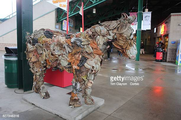 A statue of a horse made from baseball mitts at the Rochester Red Wings V The Scranton/WilkesBarre RailRiders Minor League ball game at Frontier...