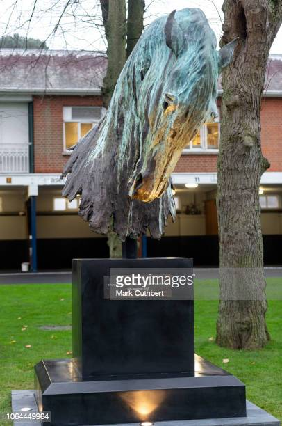A statue of a horse to mark the 70th birthday of Prince Charles Prince of Wales after the unveiling by Prince Charles Prince of Wales and Camilla...