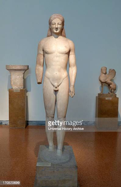 Statue of a kouros Parian marble found in ancient Myrrhinous Attica An important work of the Archaic period with a lively rendering of the body One...