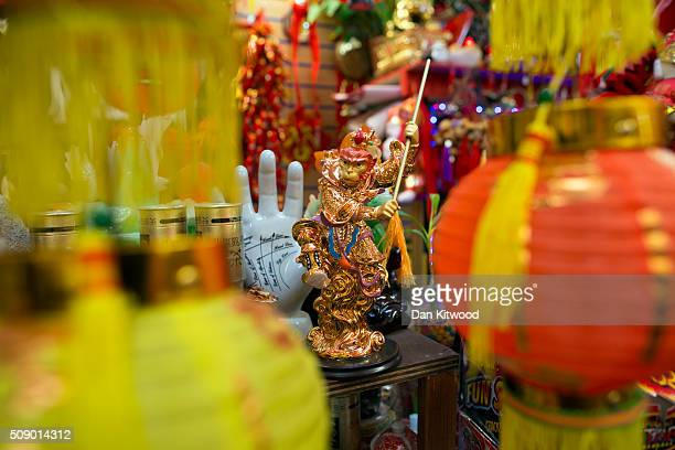 A statue of a monkey is sold in a souvenir shop in Chinatown during Chinese New Year celebrations on February 08 2016 in London England This coming...