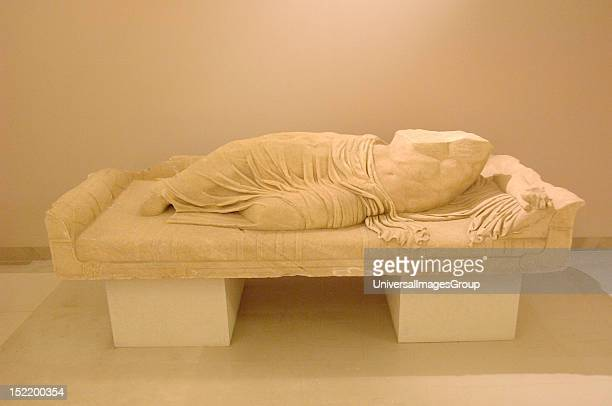 Statue of a reclining man probably the personification of the Charadros river 2nd century From Pythion Archaeological Museum of Marathon Greece
