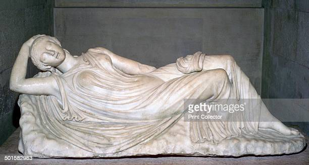 A statue of a sleeping girl possibly Ariadne A Roman copy of a 2nd century BC Hellenistic original from the Louvre's collection