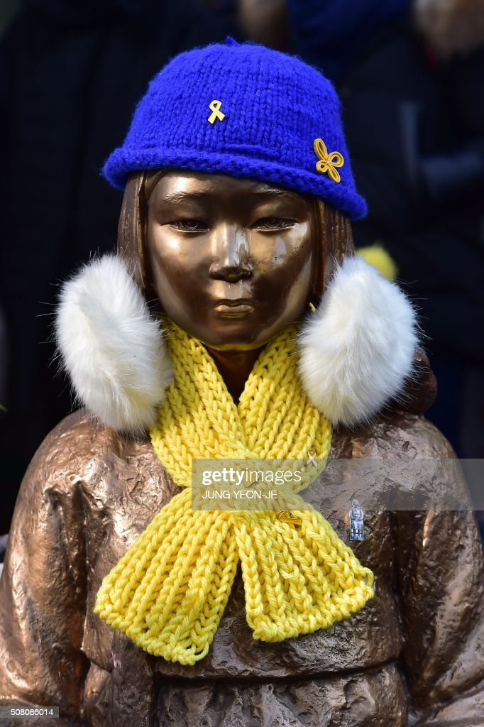 A statue of a teenage girl symbolizing former 'comfort women' who served as sex slaves for Japanese soldiers during World War II, during a weekly anti-Japanese demonstration in front of the Japanese embassy in Seoul on February 3, 2016. Japan says it has found no evidence its WWII government and military forcibly rounded up women to be sex slaves, Tokyo has told a UN committee, the latest pronouncement in a corrosive row over interpretations of history.