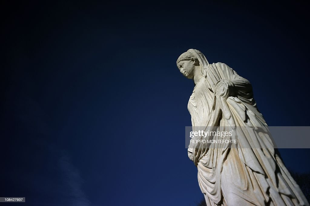 A statue of a Vestal is displayed at the : News Photo
