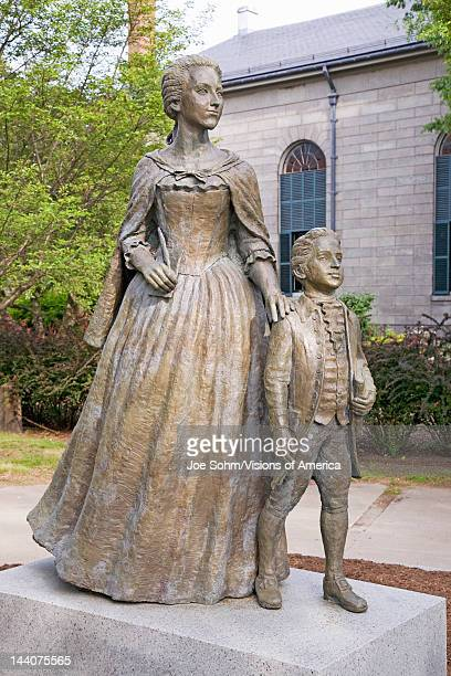 Statue of Abigail Adams and son John Quincy Adams Quincy MA USA