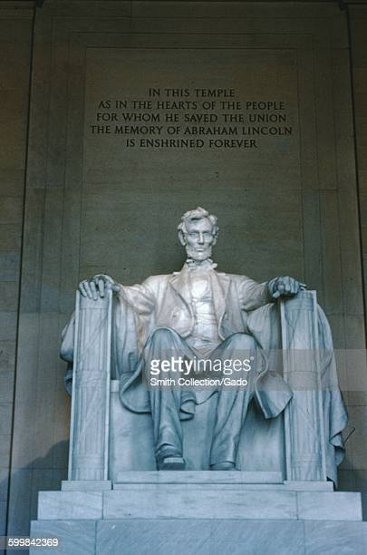 Statue of Abraham Lincoln and inscription at the Lincoln Memorial Washington DC 1952