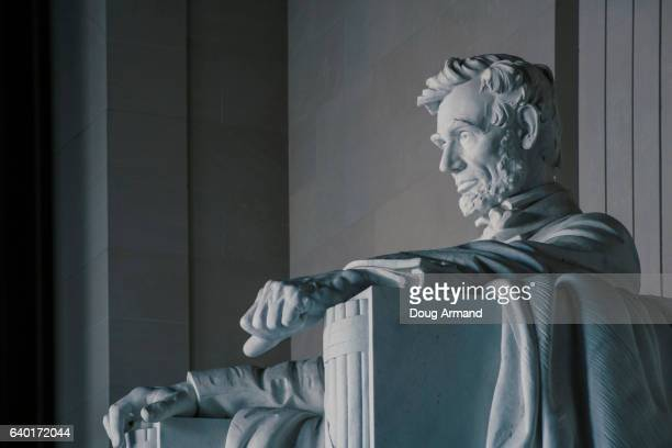 statue of abraham lincoln inside lincoln memorial, washington dc, usa - abraham lincoln stock pictures, royalty-free photos & images