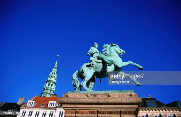 Statue of Absalon, founder of Copenhagen, Hojbro Plads.