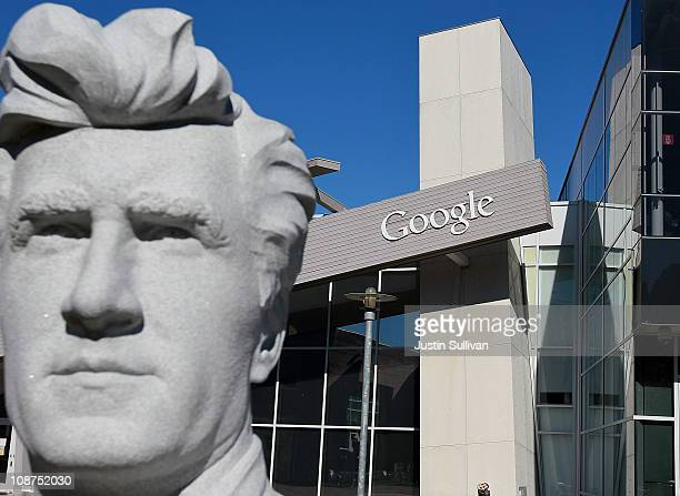 Statue of actor Lloyd Bridges is seen on display at Google headquarters on February 2, 2011 in Mountain View, California. Google unveiled its Android...