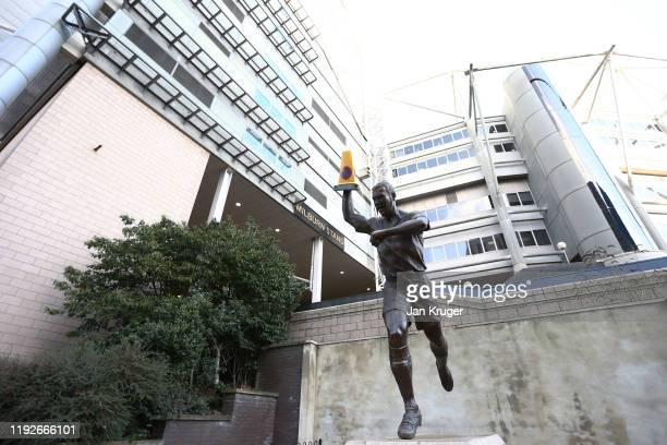 Statue of Alan Shearer is seen outside the stadium prior to the Premier League match between Newcastle United and Southampton FC at St. James Park on...