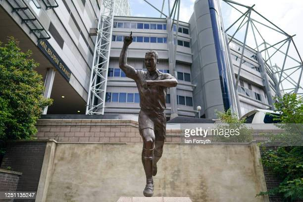 Statue of Alan Shearer stands outside St James' Park during the Premier League match between Newcastle United and Sheffield United at St. James Park...