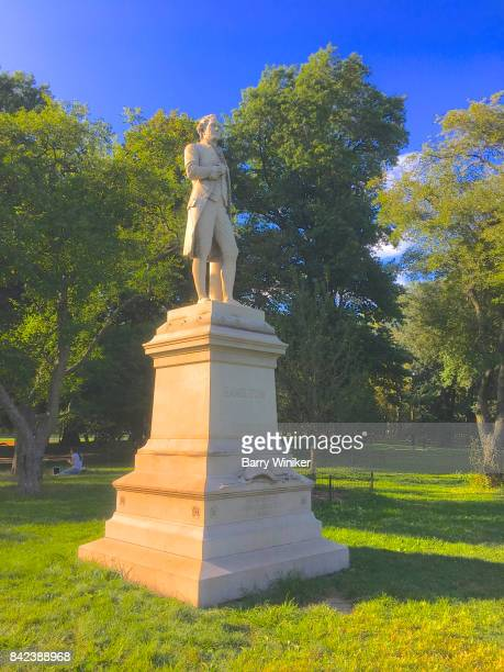 statue of alexander hamilton, central park, nyc - alexander hamilton politician stock photos and pictures
