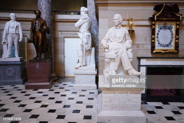 Statue of Alexander Hamilton Stephens , vice president of the Confederate States, by artist Gutzon Borglum is seen in Statuary Hall of the US Capitol...