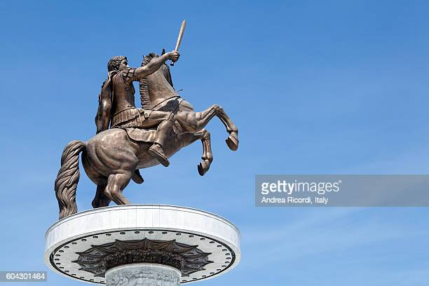 statue of alexander the great in skopje, macedonia - alexander the great stock pictures, royalty-free photos & images