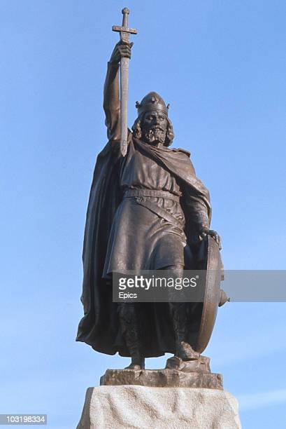 A statue of Alfred The Great in Winchester Hampshire circa 1975 It is by sculptor Hamo Thornycroft and was erected in 1901