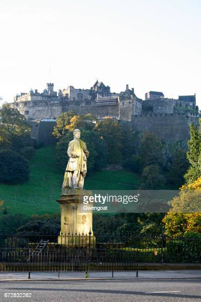 statue of allan ramsay in edinburgh - gwengoat stock pictures, royalty-free photos & images