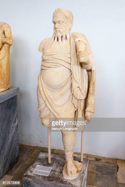 Statue of an actor in costume of Old Silenus, Delos Museum, Delos Archaeological Site, Delos, near M