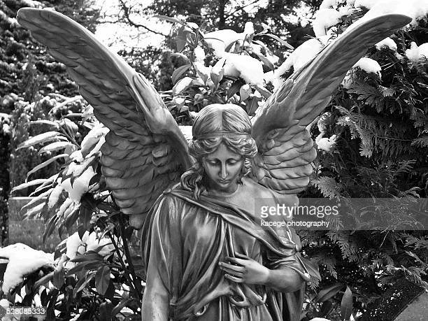 statue of an angel in a cemetery - out of frame stock pictures, royalty-free photos & images
