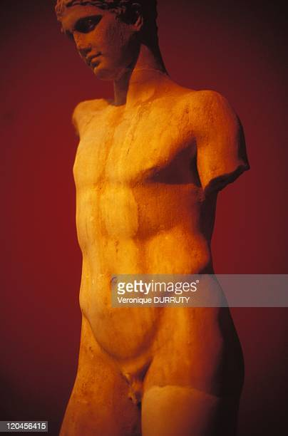 Statue of an athletic Marble National Archeological museum in Athens Greece Found in Eleusis 2d half of the II century BC Copy of an original of 440...