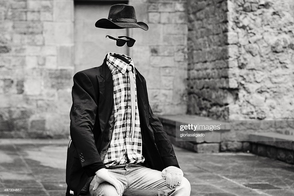 Statue of an invisible man in Gothic Area, Barcelona, Spain : Stock Photo