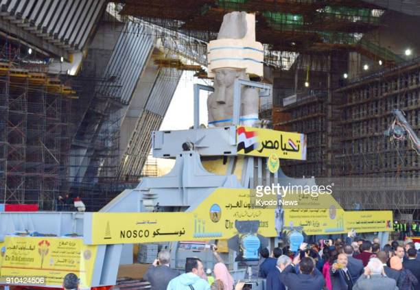 A statue of ancient pharaoh Ramses II is transported to the construction site of the Grand Egyptian Museum in Giza Egypt on Jan 25 2018 The Egyptian...
