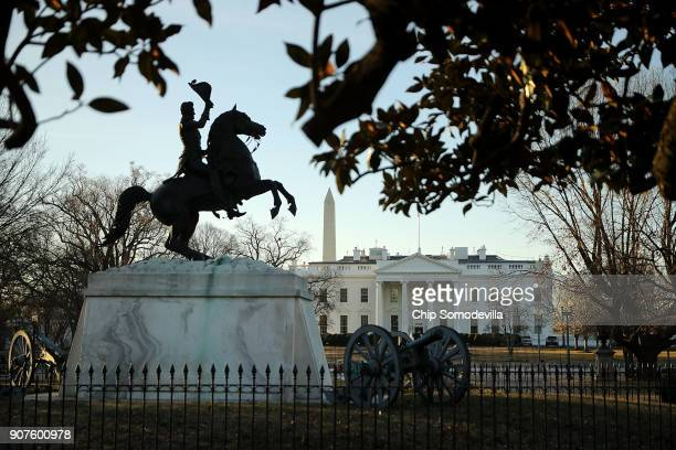 A statue of Andrew Jackson at the Battle of New Orleans occupies the center of Lafayette Square on the north side of the White House January 20 2018...