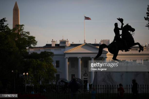 A statue of Andrew Jackson stands in Lafayette Square near the White House on Wednesday evening April 17 2019 in Washington DC The results of the...