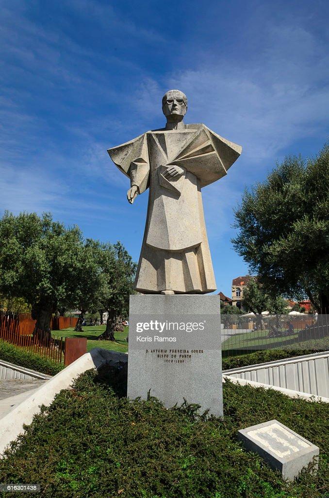 Statue of Antonio Ferreira Gomes, in Porto, Portugal : Stock Photo