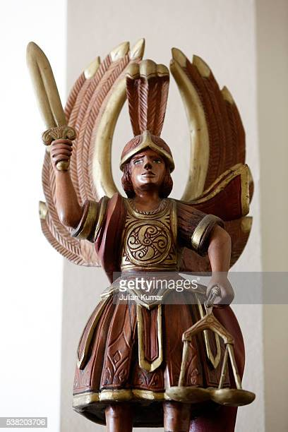 Statue of Archangel Michael sculpted by Miguel Morois