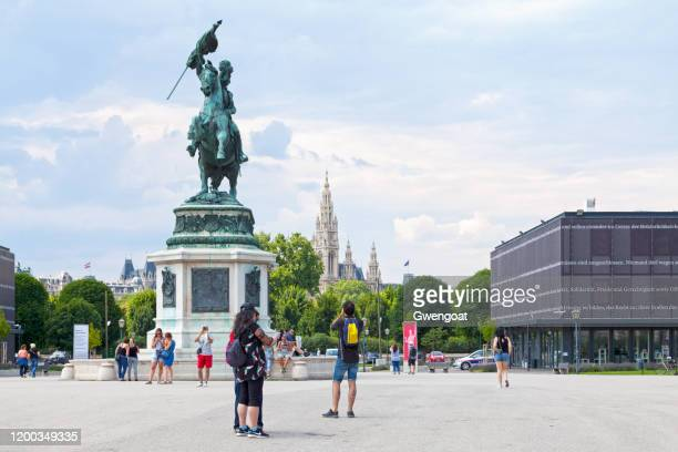 statue of archduke charles in vienna - gwengoat stock pictures, royalty-free photos & images