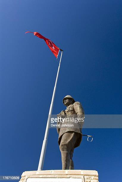 Statue of Ataturk stands on a ridge that was the main objective in the battle of Sari Bair, during the Gallipoli Campaign in World War One.