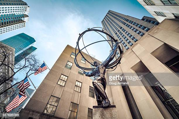 Statue of Atlas and Manhattan skyscrapers