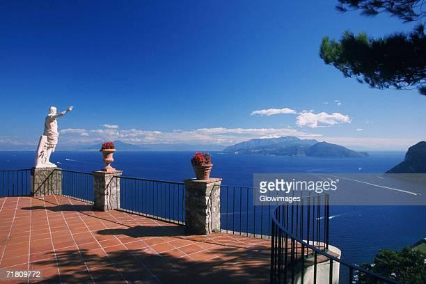 Statue of Augustus Caesar on a terrace, Naples, Capri, Campania, Italy