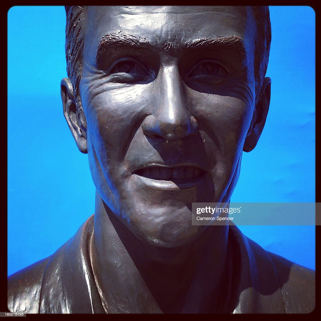A statue of Australian tennis legend Ken Rosewall is seen during day eight of the 2013 Australian Open at Melbourne Park on January 21, 2013 in Melbourne, Australia.