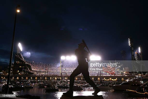 Statue of baseball legend Willie McCovey is seen outside of McCovey Cove during Game One between the San Francisco Giants and the Detroit Tigers in...