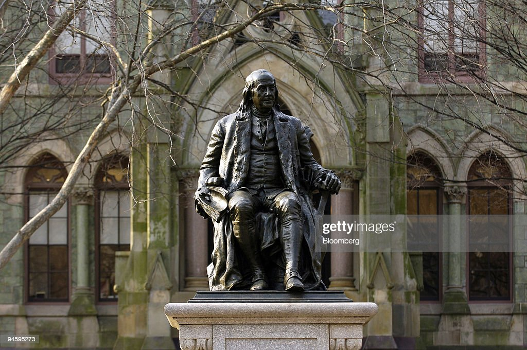 A statue of Benjamin Franklin, founder of the University of : News Photo