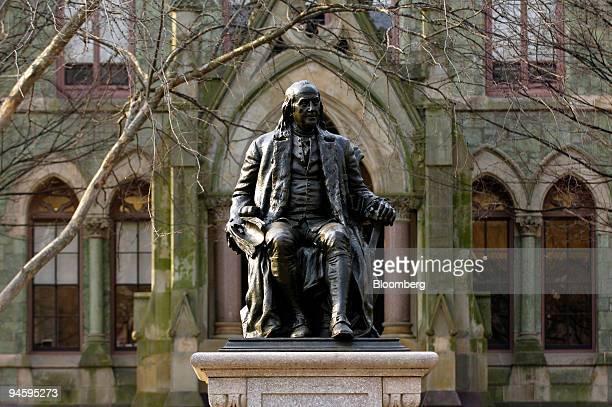 Statue of Benjamin Franklin, founder of the University of Pennsylvania, on the school's campus in Philadelphia, Pennsylvania, Thursday, March 15,...