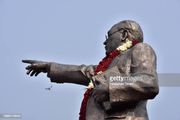A statue of BR Ambedkar seen during an event organised to pay tribute to BR Ambedkar on his death anniversary at Delhi Vidhan Sabha on December 6...