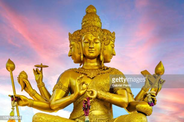 a statue of brahma - religion stock pictures, royalty-free photos & images