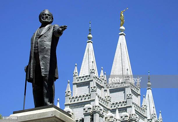 A statue of Brigham Young second president of the Church of Jesus Christ of Latter Day Saints stands in the center of Salt Lake City with the Mormon...