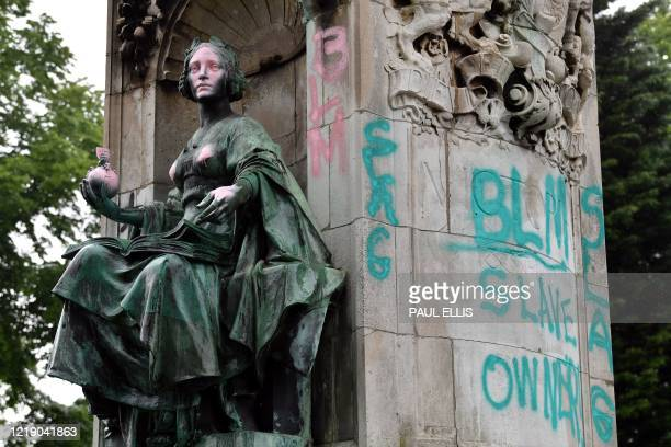 A statue of Britain's Queen Victoria stands defaced in Woodhouse Moor Park in Leeds northern England on June 10 2020