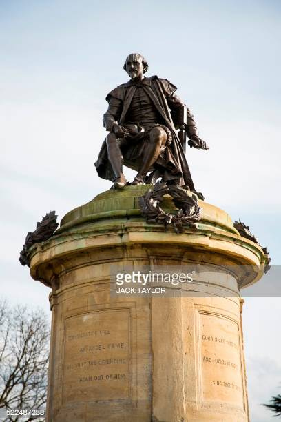 A statue of British poet and playwright William Shakespeare on top of the Gower Memorial is pictured in StratforduponAvon central England on April 12...